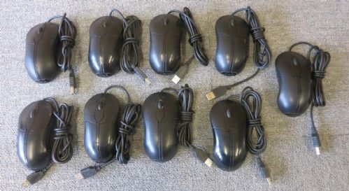 Joblot 9 x Dell XN966 Wired USB Optical Black 2 Button Scroll Wheel Mouse